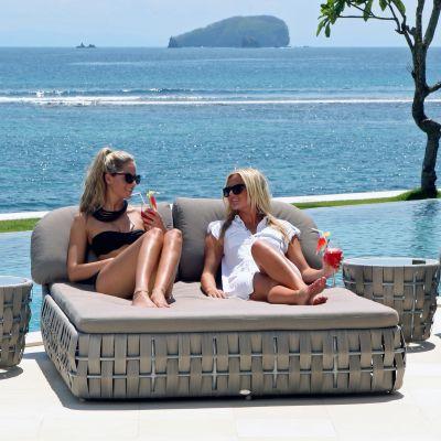 Strips Double Rattan Sun Lounger Garden Furniture