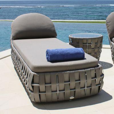 Strips Single Rattan Sun Lounger Garden Furniture