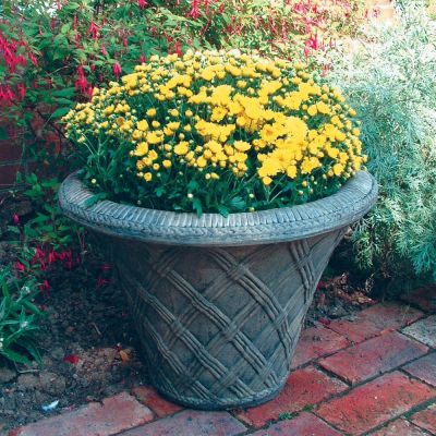 Thatched Urn Stone Plant Pot - Large Garden Planter