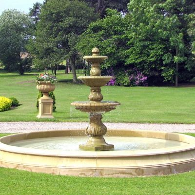 Triple Tier Water Feature & Pool Surround - Large Stone Fountain