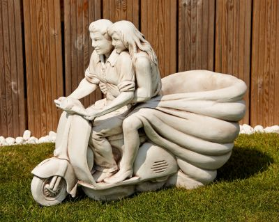 Vespa Lambretta Stone Scooter Ornament - Large Garden Planters