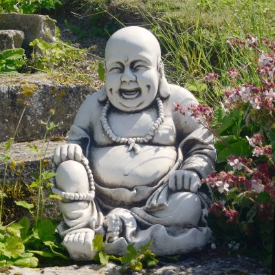 Laughing Buddha Antique Stone Garden Statue
