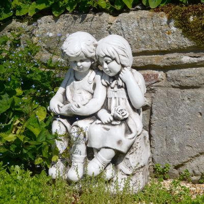 Antique Stone Country Boy & Girl Statue - 56cm Garden Sculpture
