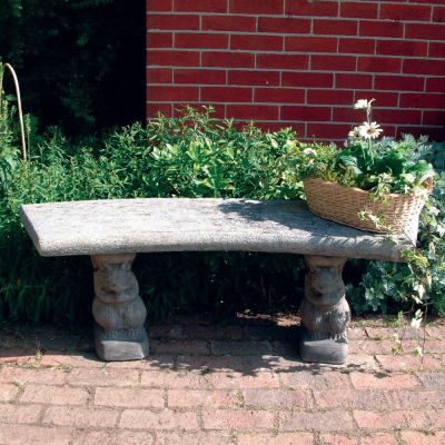 Curved Plain Top Stone Bench - Large Garden Bench