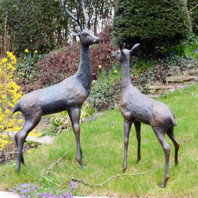 Grand Deer Bronze Statues - Metal Garden Ornaments
