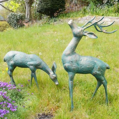 Large Deer Antique Bronze Statues - Metal Garden Ornaments
