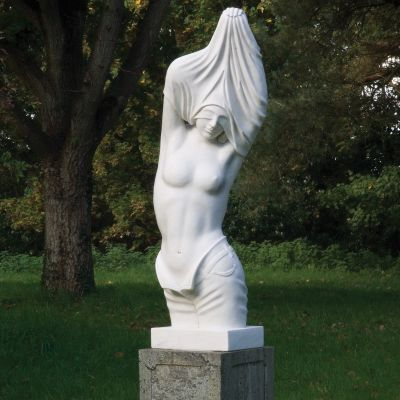 Reveal White Marble Statue on Pedestal - 170cm Garden Sculpture