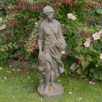 Spring Maiden 84cm Four Seasons Bronze Rust Stone Garden Statue
