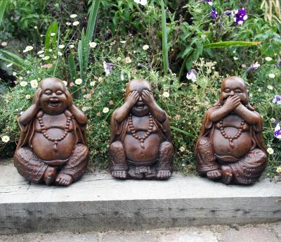 Three Wise Buddha Statues - Stone Garden Ornaments