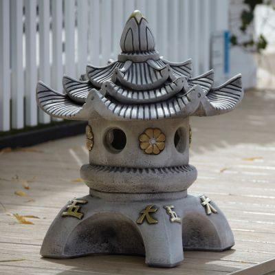 Triple Top Japanese Pagoda Lantern - Chinese Garden Ornament
