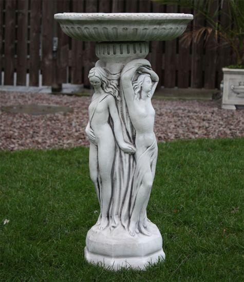 Three Graces Stone Birdbath - Garden Bird Bath Feeder