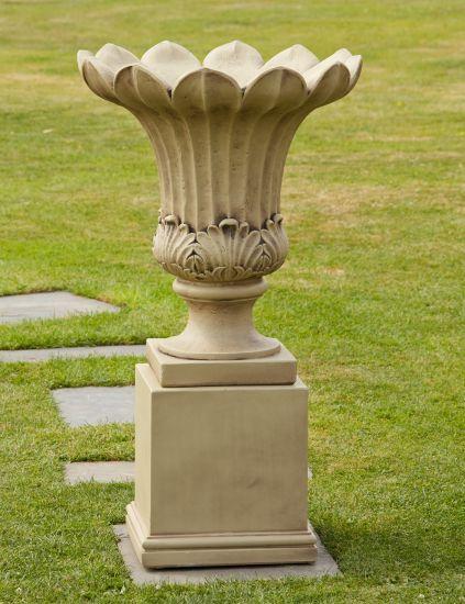 Annecy Stone Vase on Pedestal - Large Garden Planter