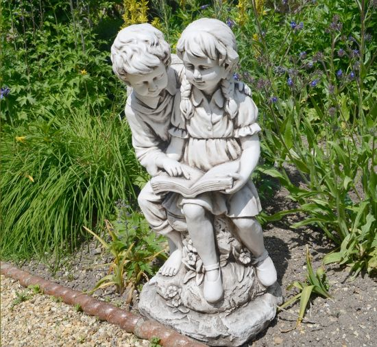 Antique Stone Reading Boy & Girl Statue - 88cm Garden Sculpture
