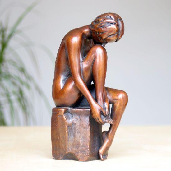 Apres Le Bain Bronze Sculpture - Nude Female Modern Figurine