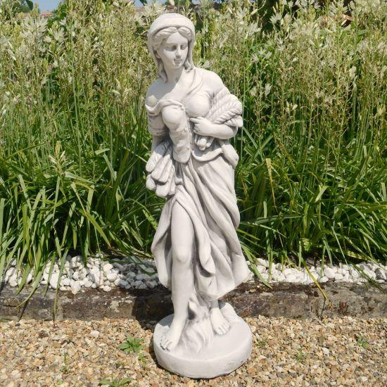 Autumn Maiden 84cm Four Seasons White Stone Garden Statue