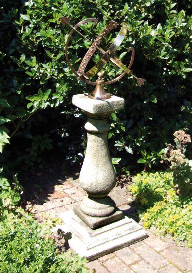 Baluster Large Armillary Stone Sun Dial - Garden Sundial