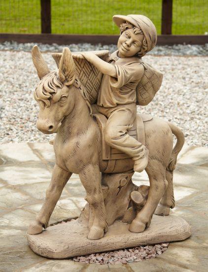 Boy & Donkey Stone Figurine Ornament - Large Garden Statue