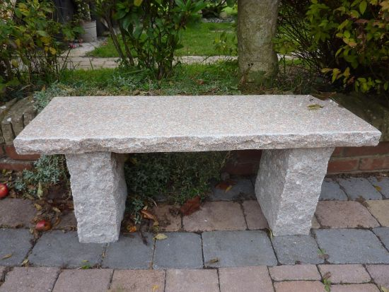 Classic Natural Granite Pink Stone Bench - Large Garden Benches