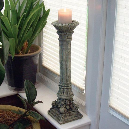 Corinthian Stone Candlestick Sculpture - Garden Ornament