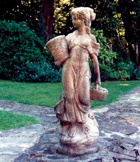 Country Girl Stone Sculpture (Large) - Garden Statue