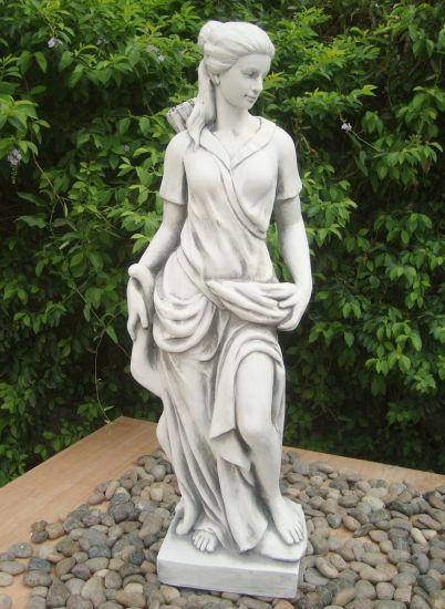 Diana the Huntress 85cm White Stone Garden Statue