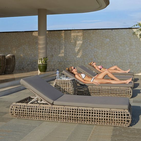 Dynasty Rattan Sun Lounger Garden Furniture