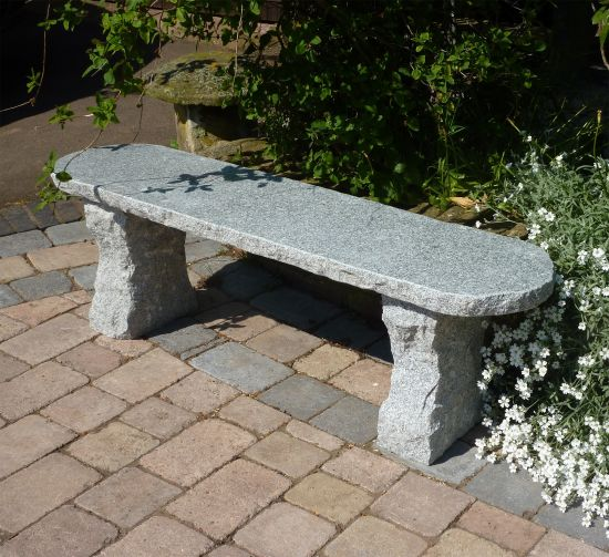 Elegance II Natural Granite Grey Stone Bench - Large Garden Benches