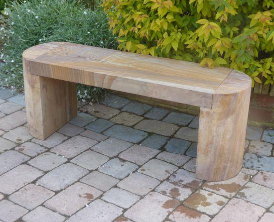Elegance Polished Rainbow Sandstone Stone Bench - Large Garden Benches