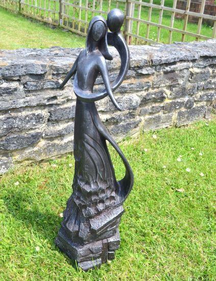 Embracing Lovers Modern Garden Statue - Large Contemporary Sculpture