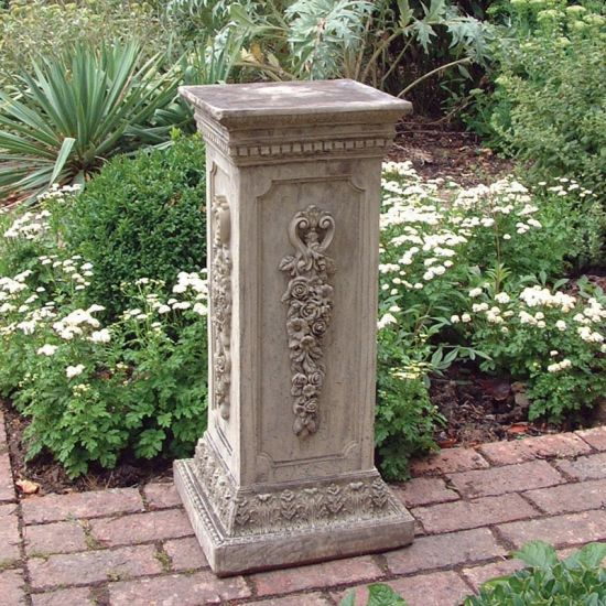 Floral Column Pedestal - Stone Statue Plinth