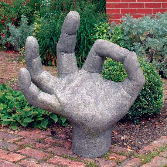 Giant OK Hand Stone Statue - Large Garden Sculpture