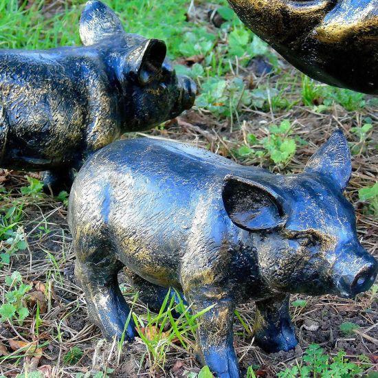 Wild Piglets (Set of 2) Bronze Metal Garden Ornaments