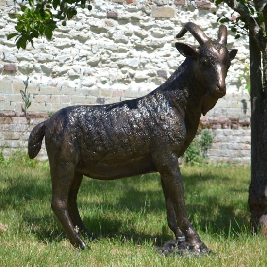 Billy Goat Bronze Metal Garden Statue