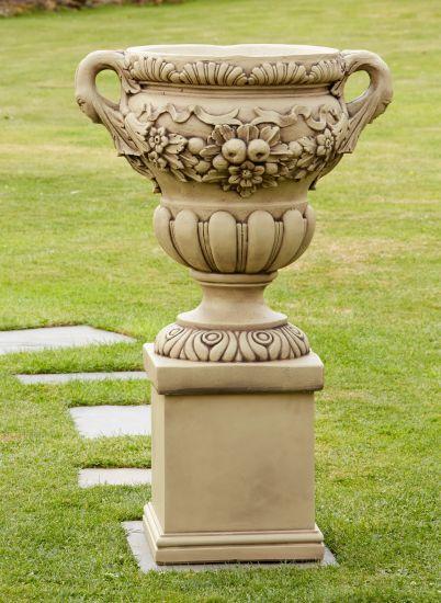 Gordes Stone Vase on Pedestal - Large Garden Planter