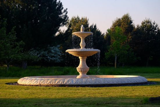 Grand Double Tier 4m Golden Marble Stone Water Fountain Feature