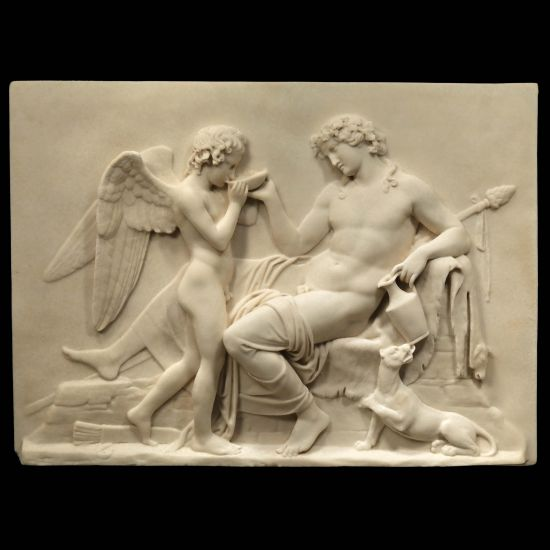 Greek God & Angel - Ancient Greek Marble Wall Relief Plaque