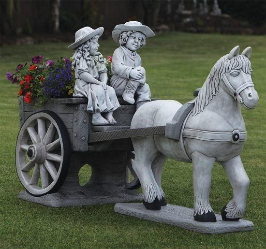 Horse & Cart Stone Statue - Large Garden Ornament