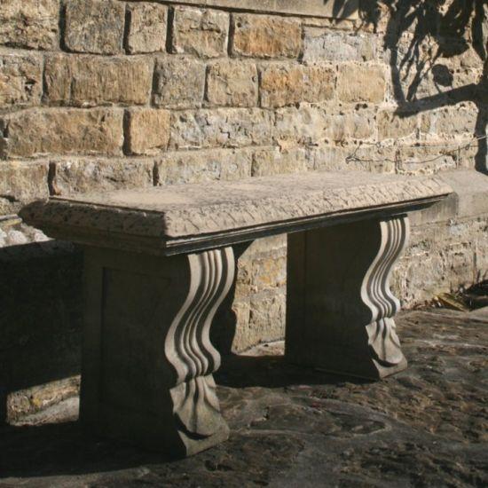 Large Garden Benches - Single Straight Plain Stone Bench