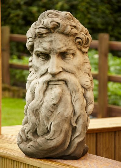 Large Garden Ornaments - God's Head Stone Bust Statue