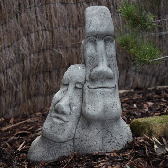 Leaning Heads Sculpture - Large Easter Island Head Statue