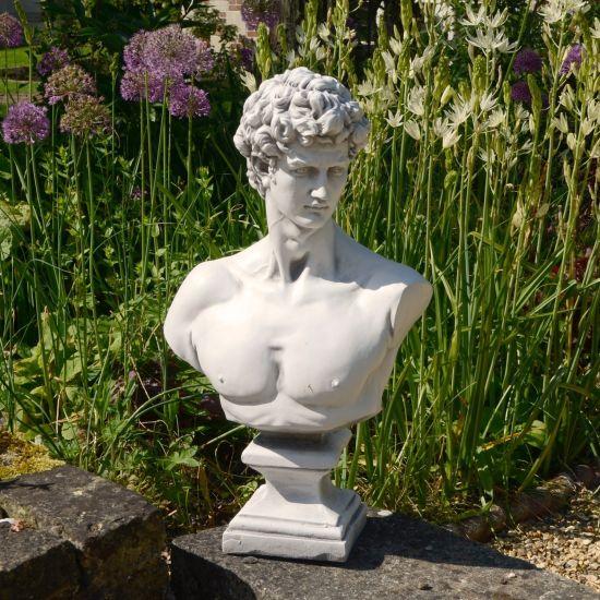 Michelangelo David Bust 59cm White Stone Garden Statue