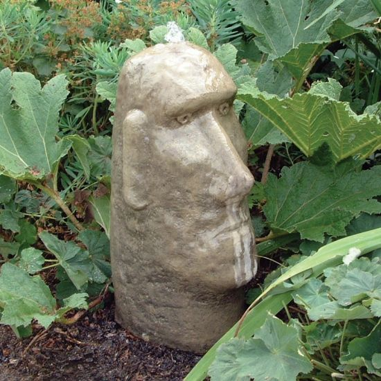 Moai Head Stone Fountain - Garden Water Feature