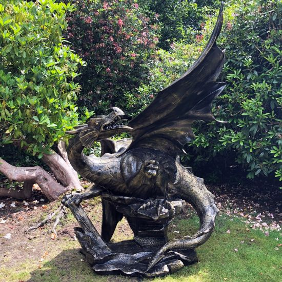 Mystical Dragon 232cm Bronze Metal Garden Statue