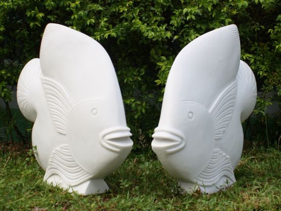 Pair of White Fish Sculpture - Large Garden Statue Art