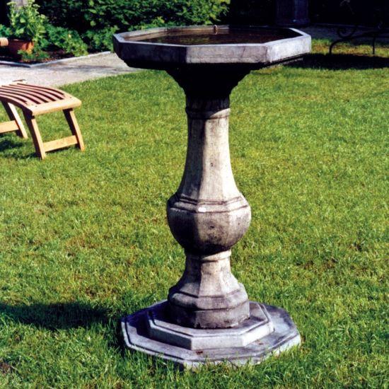 Pedestal Plain Stone Birdbath - Garden Bird Bath