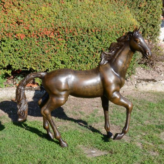Polo Pony Bronze Metal Garden Statue