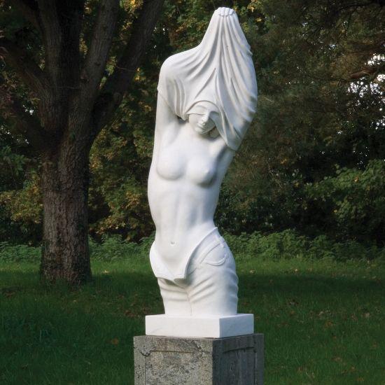 Reveal White Marble Statue on Pedestal - 170cm Garden Sculpture
