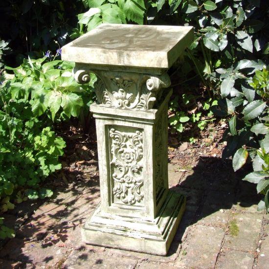 Rocco Column Pedestal - Stone Statue Plinth