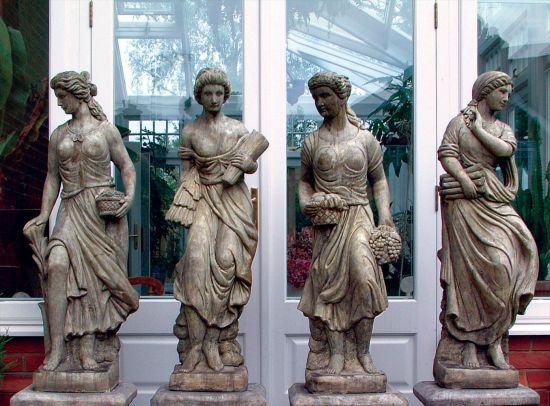 Set of Four Seasons Maids Sculpture - Large Garden Statue