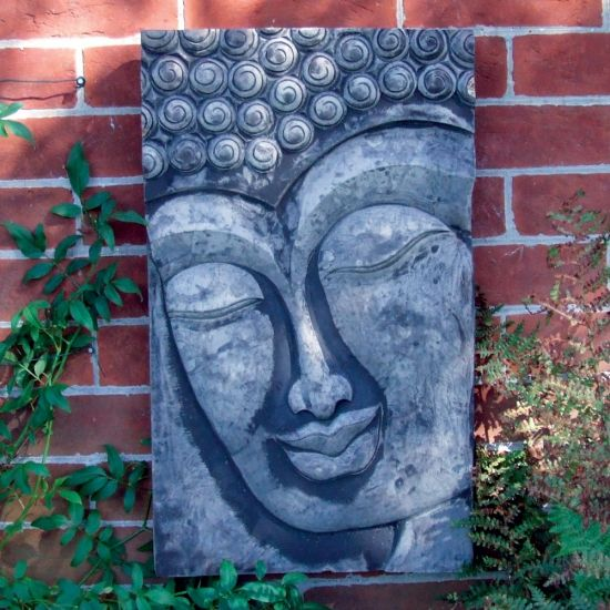 Stone Enlightened Buddha Head Wall Plaque - Garden Art